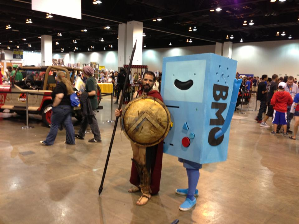 300 and Adventure Time... Honestly 300 guy REALLY pulled off that costume and the shield looked real.